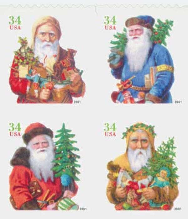2001 34c Contemporary Christmas: Santas, green denomination