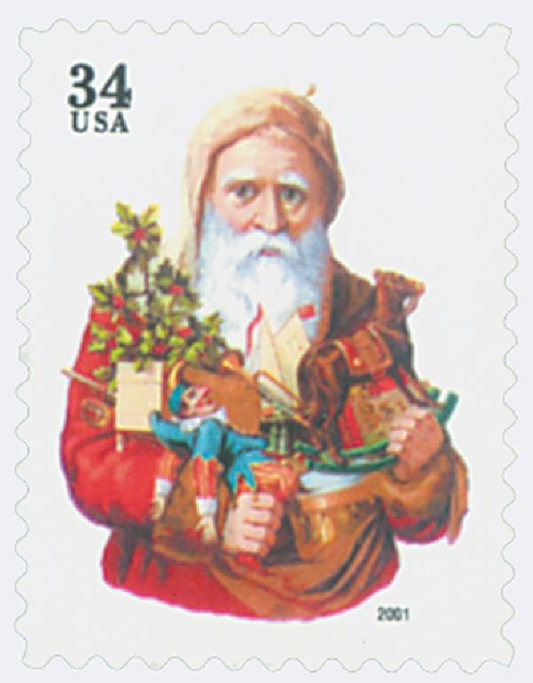 2001 34c Contemporary Christmas: Santa with Toy Horse, green denomination