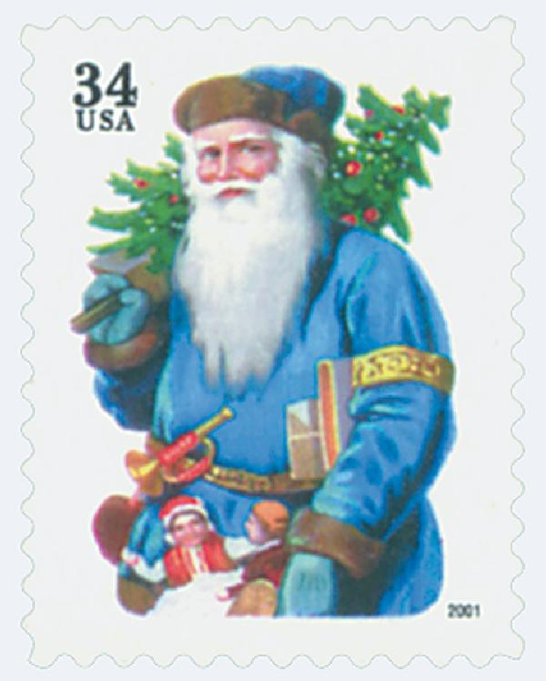 2001 34c Contemporary Christmas: Santa with Horn, green denomination