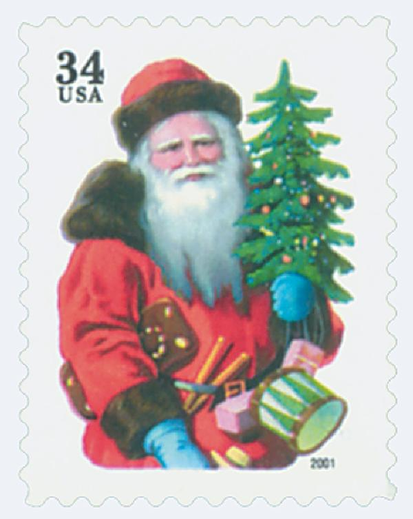 2001 34c Contemporary Christmas: Santa with Red Hat, green denomination