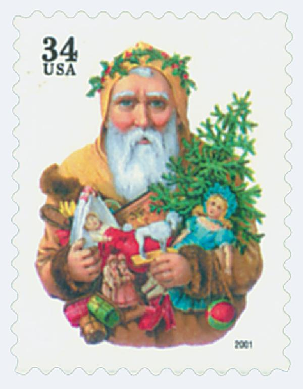 2001 34c Contemporary Christmas: Santa with Dog, green denomination