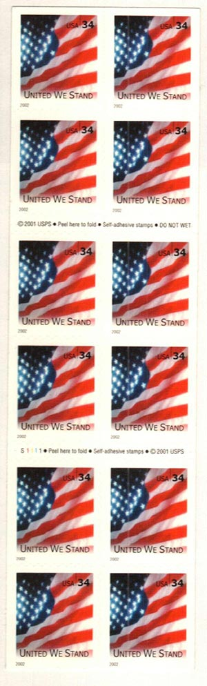 2002 34c United We Stand, booklet stamp