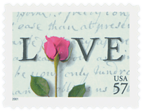 2001 57c Love Series: Rose and Love Letter