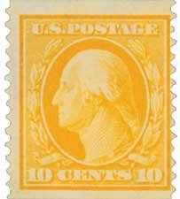 1909 10c Washington, yellow