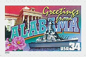 2002 34c Greetings From America: Alabama