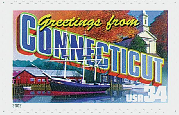 2002 34c Greetings From America: Connecticut