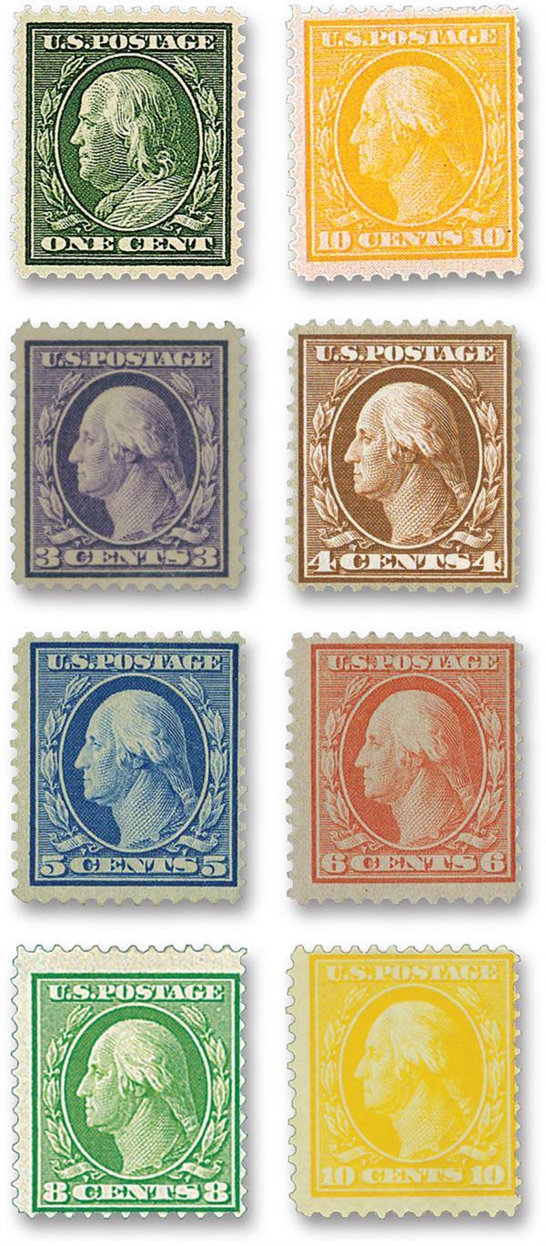 Complete Set, 1909 Bluish Gray paper water mark