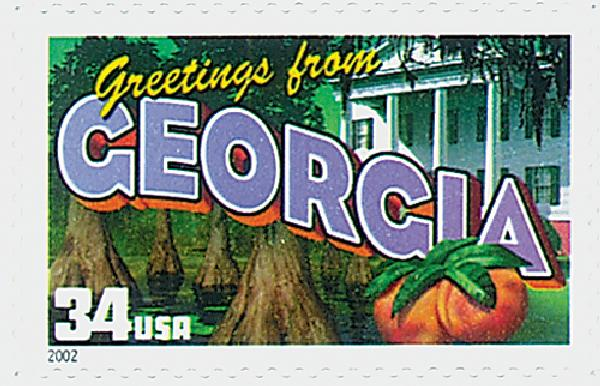 2002 34c Greetings From America: Georgia