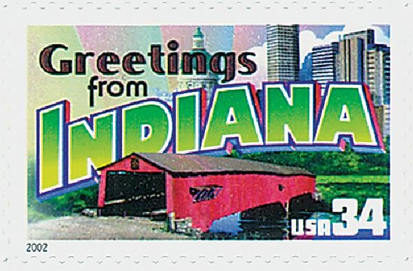 2002 34c Greetings From America: Indiana