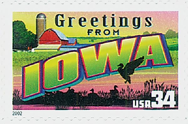 2002 34c Greetings From America: Iowa
