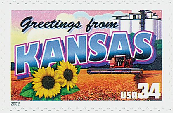2002 34c Greetings From America: Kansas