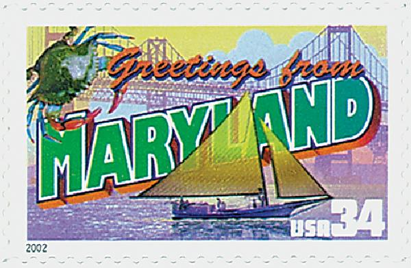 2002 34c Greetings From America: Maryland