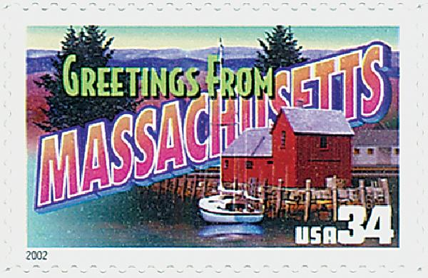 2002 34c Greetings From America: Massachusetts