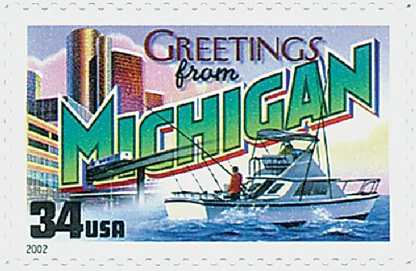 2002 34c Greetings From America: Michigan