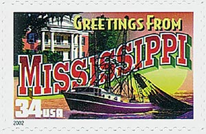 2002 34c Greetings From America: Mississippi