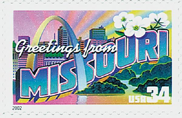 2002 34c Greetings From America: Missouri