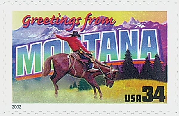 2002 34c Greetings From America: Montana