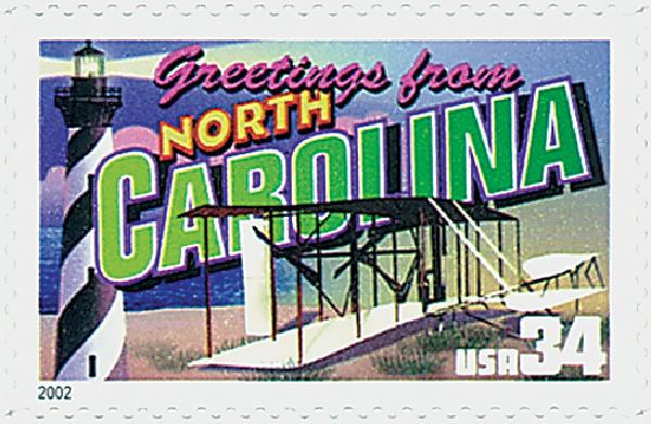 2002 34c Greetings From America: North Carolina
