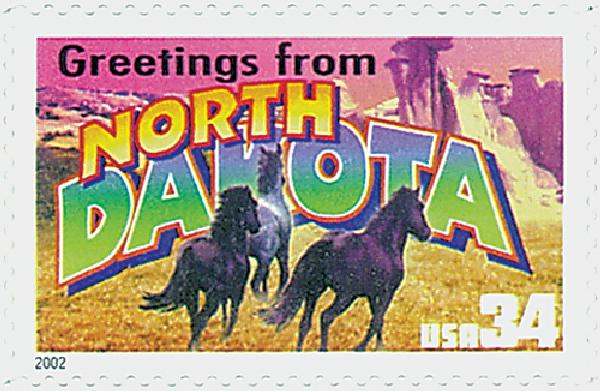 2002 34c Greetings From America: North Dakota