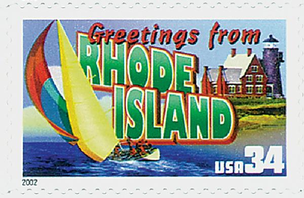 2002 34c Greetings From America: Rhode Island