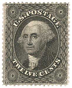 1857-61 12c Washington, black