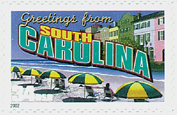 2002 34c Greetings From America: South Carolina