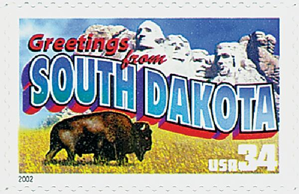 2002 34c Greetings From America: South Dakota