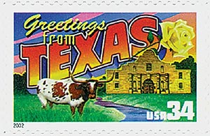 2002 34c Greetings From America: Texas