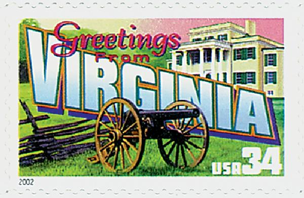 2002 34c Greetings From America: Virginia