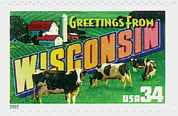 2002 34c Greetings From America: Wisconsin