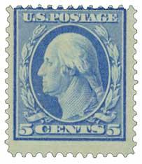 1909 5c Washington, blue