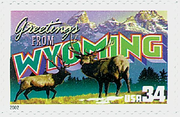 2002 34c Greetings From America: Wyoming
