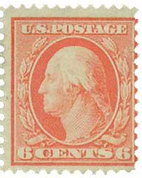1909 6c Washington, red orange