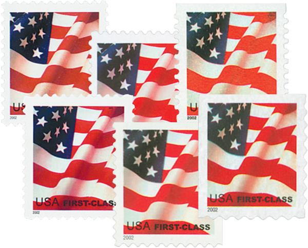 2002 32c Flags, non-denomination, collection of 6 stamps
