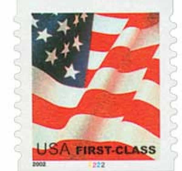2002 37c Flag, non-denominated coil stamp