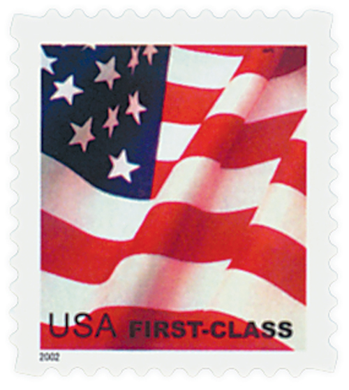 2002 37c Flag, non-denominated booklet stamp, USPS microprinting in top red stripe of flag