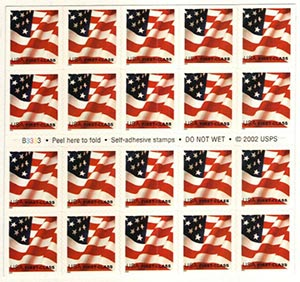 2002 37c Flag, non-denom, USPS rd stripe