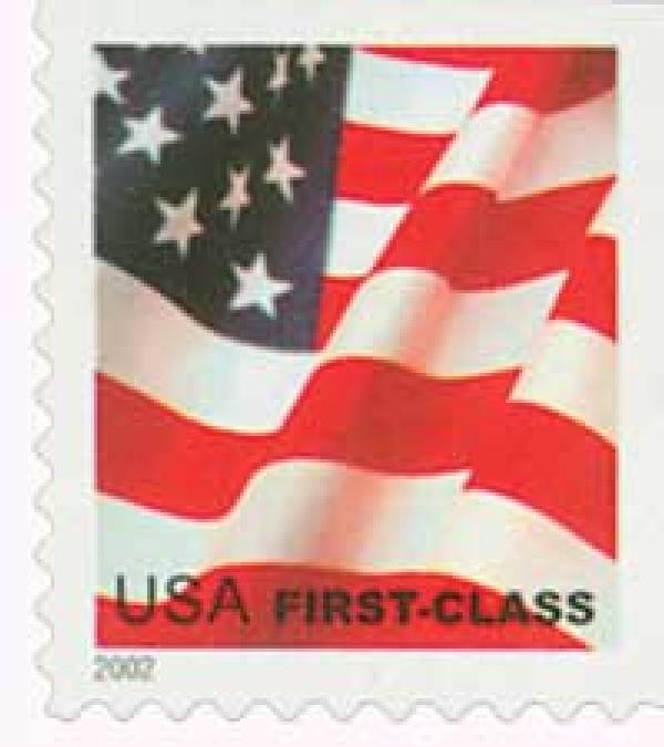 2002 37c Flag, non-denominated booklet stamp, large print 2002