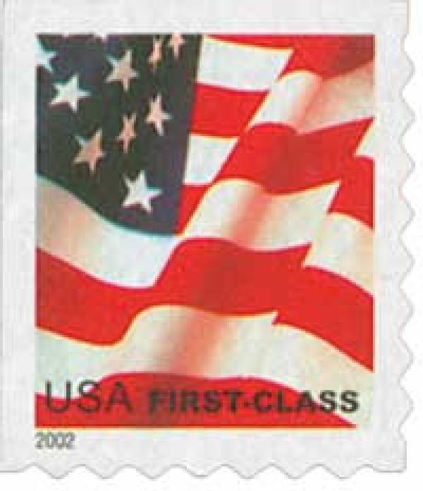 2002 37c Flag, non-denominated, self-adhesive booklet stamp