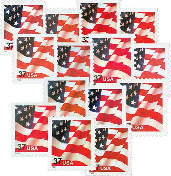 2002 37c US Flags, collection of 14 stamps