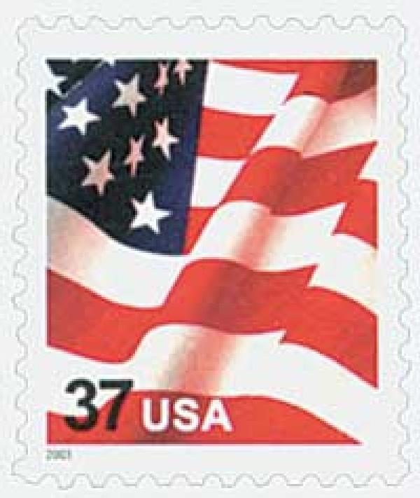 2003 37c Flag, USA microprinted in top red stripe of flag