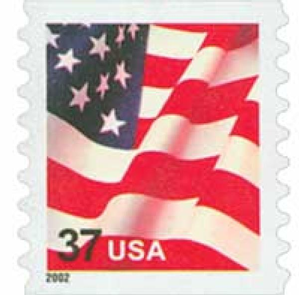 2002 37c Flag, 8 1/2 vertical perf