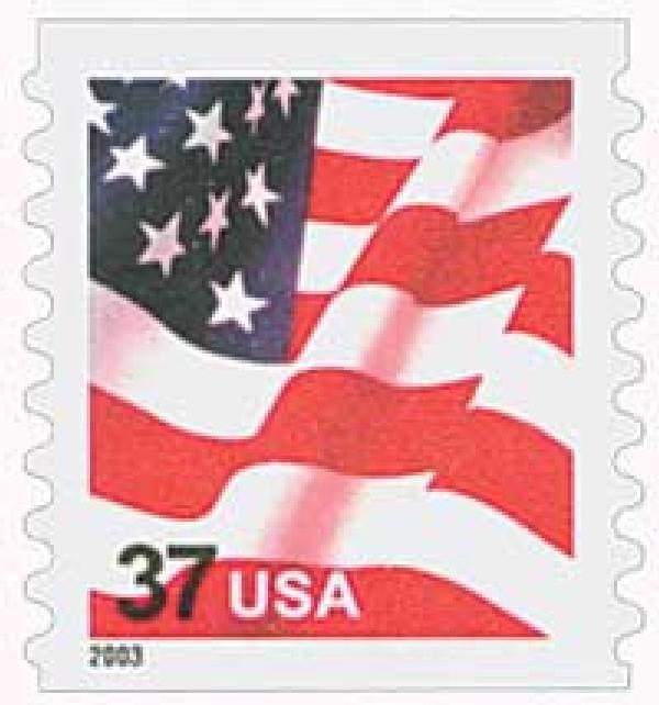 2003 37c Flag, coil, s/a