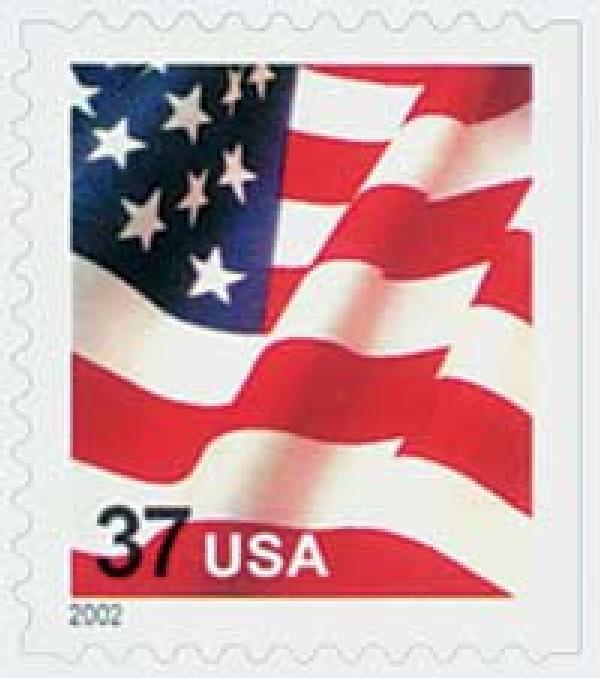 2002 37c Flag, booklet single, large 2002