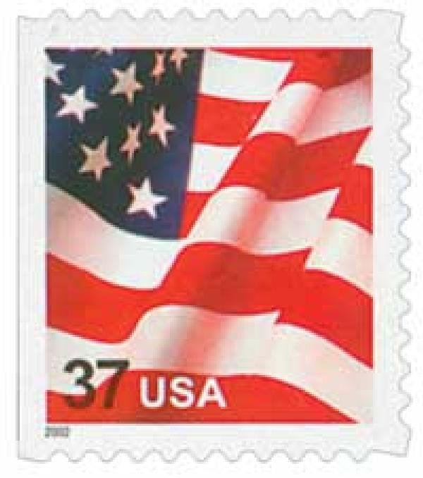 2002 37c Flag, booklet single, 11 1/4 perf