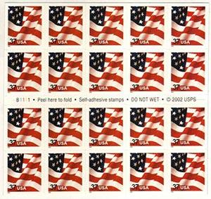 2002 37c Flag, bklt, 11 1/4 perf, s/a