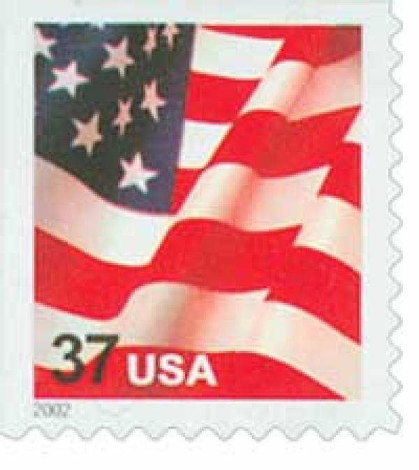 2002 37c Flag, booklet single, 10 1/2 x 10 3/4