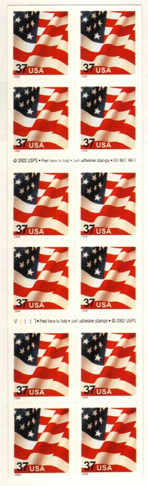 2004 37c Flag, bkt pane 11 1/4 x 11