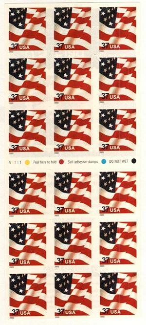 2003 37c Flag, s/a ATM bklt of 18