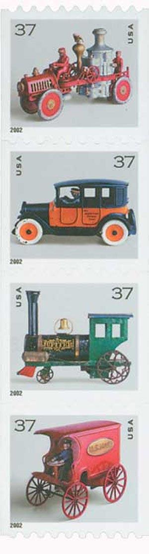 2002 37c Antique Toys, coil, s/a